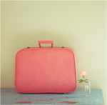 old pink suitcase